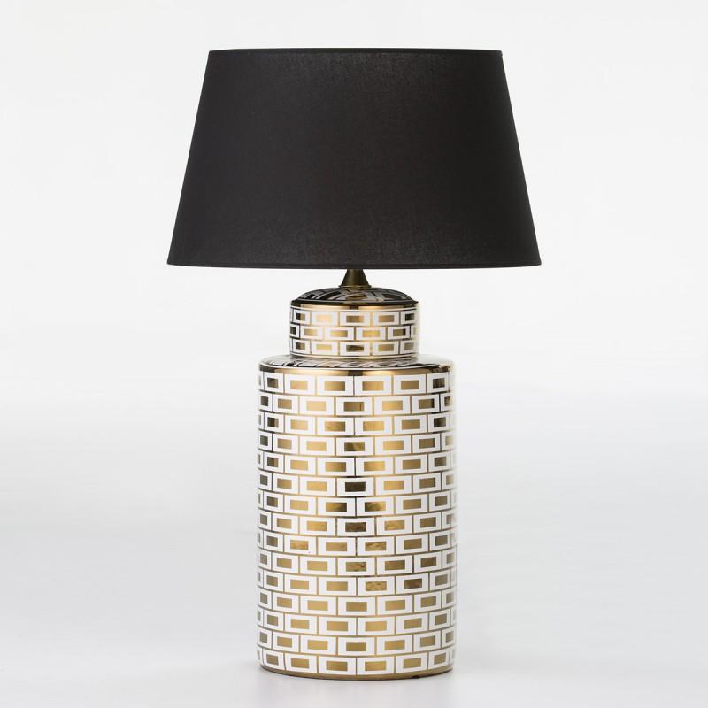 Lampe de Table sans abat-jour 23x23x51 Céramique Blanc Doré Modèle 2