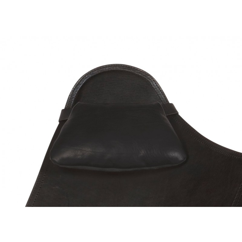 BUTTERFLY Italian leather armchair removable headrest (black) - image 54003