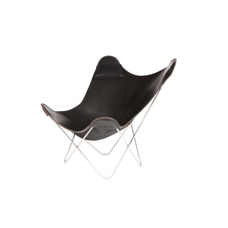 BUTTERFLY Italian leather armchair removable headrest (black) - image 54004