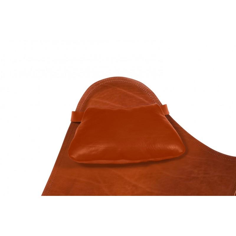BUTTERFLY Poltrona in pelle italiana copricapo (marrone)