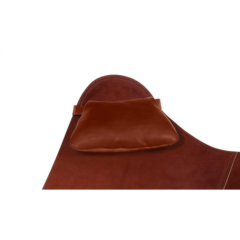 A removable headrest for Italian leather armchair BUTTERFLY (oak brown) - image 54011