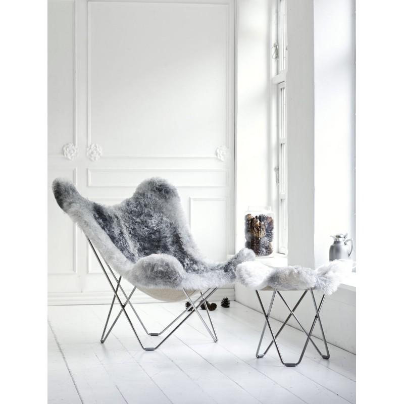 Repose pied en peau de mouton, poils courts FLYING GOOSE ICELAND pied chromé (blanc, gris) - image 54025
