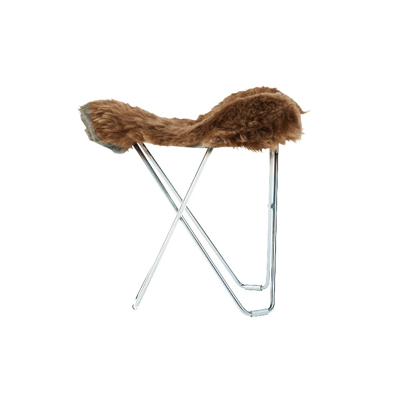 Poggiapuò di pelle di pecora, peli corti FLYING GOOSE ISLANDA piede cromato (marrone)
