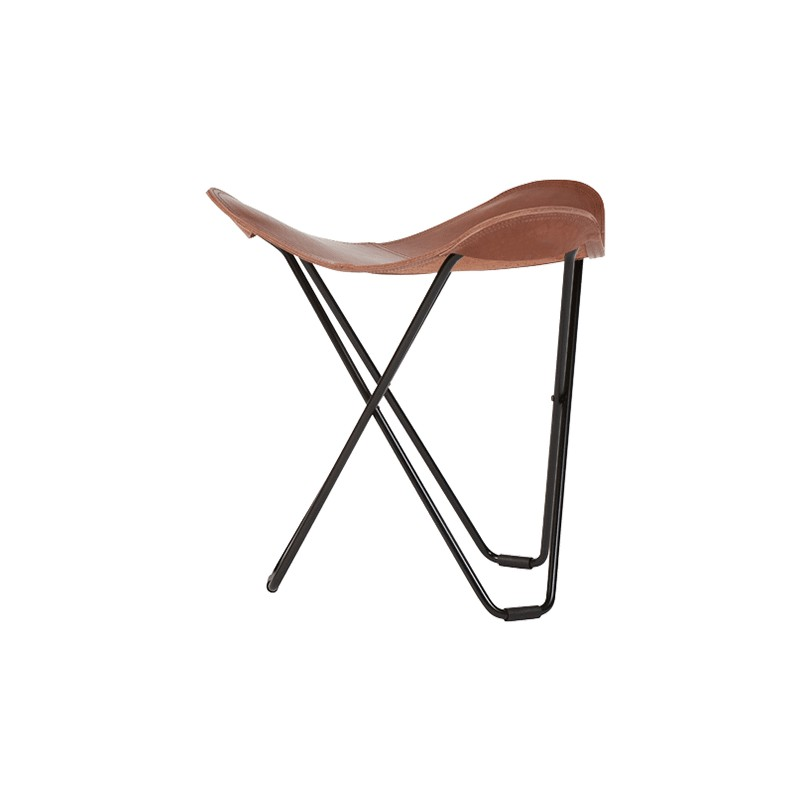 Repose pied en cuir italien FLYING GOOSE PAMPA pied métal noir (marron chêne)