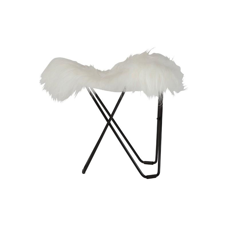 Poggiagavie in pelle di pecora, peli corti FLYING GOOSE ISLANDA piede metallo nero (bianco)