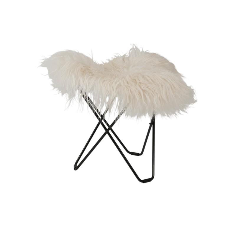 Repose pied en peau de mouton, poils longs FLYING GOOSE ICELAND pied métal noir (blanc)