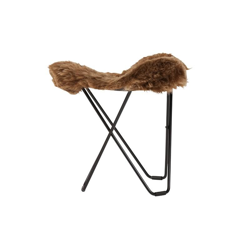 Repose pied en peau de mouton, poils courts FLYING GOOSE ICELAND pied métal noir (marron)