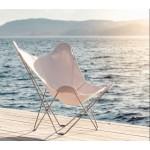 Garten Schmetterling Sessel aus Stoff Sumbrella SUNSHINE MARIPOSA Fuß verchromt (weiß, Elfenbein)