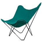 Vegetable butterfly chair in fabric Sumbrella SUNSHINE MARIPOSA black metal foot (green)