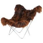 Sedia farfalla in pelle di pecora, islanda MARIPOSA capelli lunghi piede cromato (marrone)