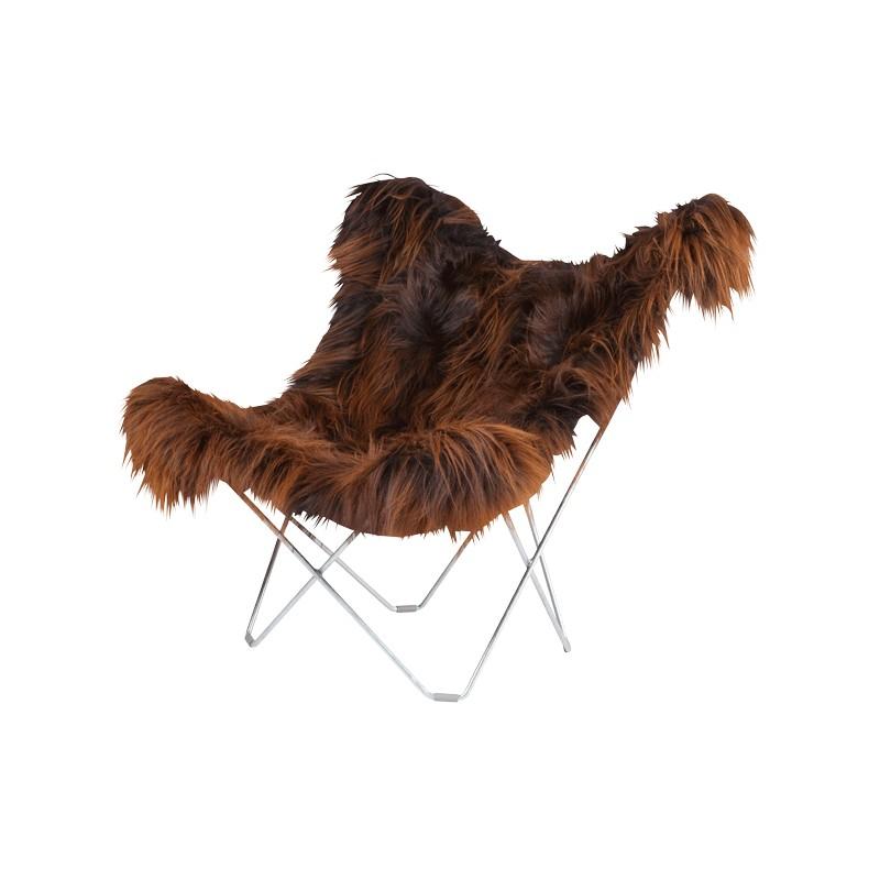 Fauteuil papillon en peau de mouton, poils longs ICELAND MARIPOSA pied chromé (marron) - image 54151