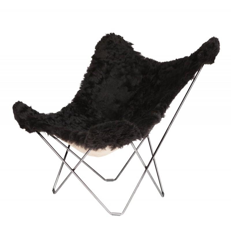 Fauteuil papillon en peau de mouton, poils courts ICELAND MARIPOSA pied chromé (noir)