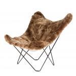 Silla de mariposa piel de oveja, pelo corto ISLANDIA MARIPOSA pie de metal negro (marrón)