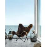 Sheepskin butterfly chair, long hair ICELAND MARIPOSA black metal foot (brown)