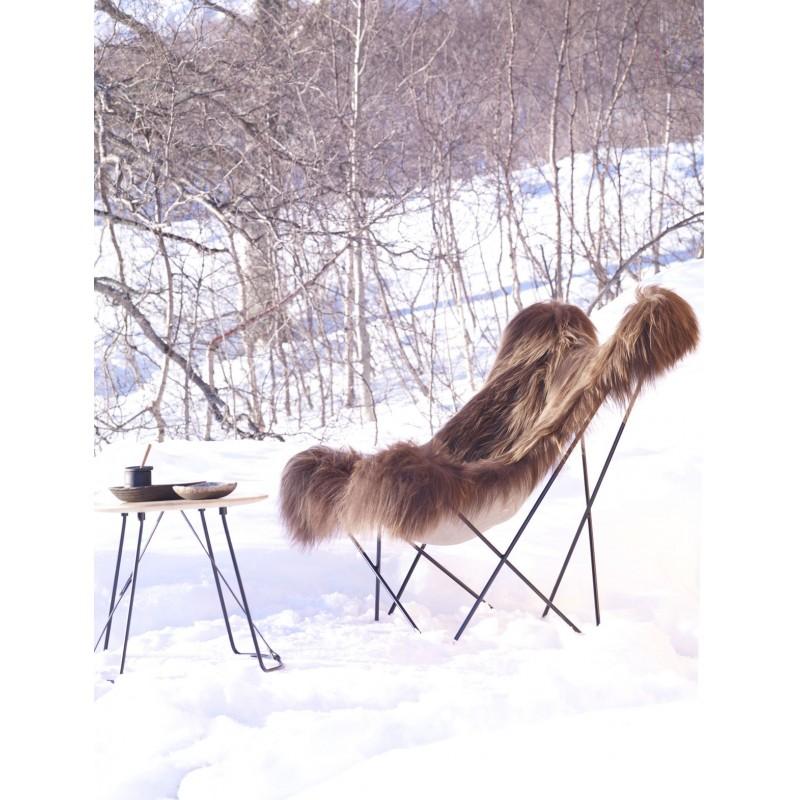 Fauteuil papillon en peau de mouton, poils longs ICELAND MARIPOSA pied métal noir (marron) - image 54169