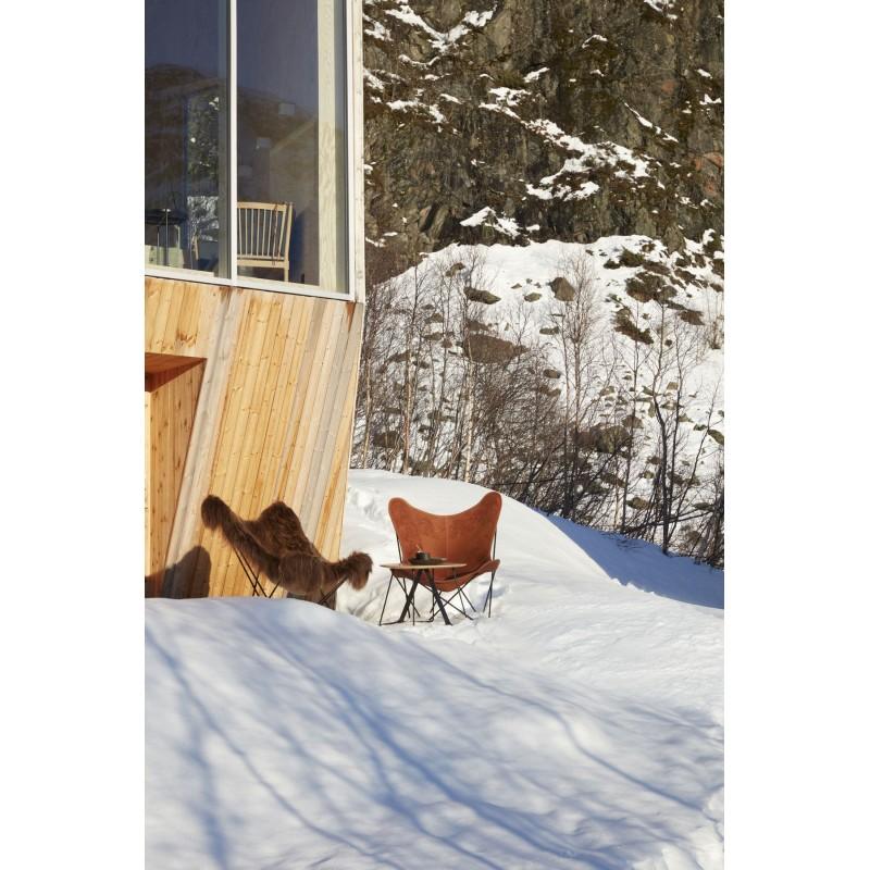 Fauteuil papillon en peau de mouton, poils longs ICELAND MARIPOSA pied métal noir (marron) - image 54171