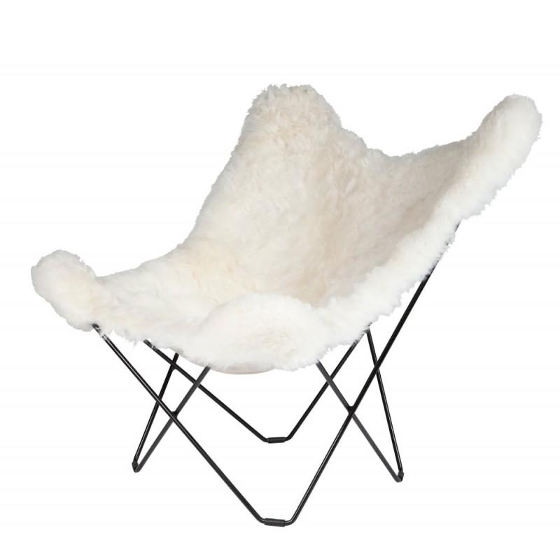 Fauteuil papillon en peau de mouton, poils courts ICELAND MARIPOSA pied métal noir (blanc) - image 54173