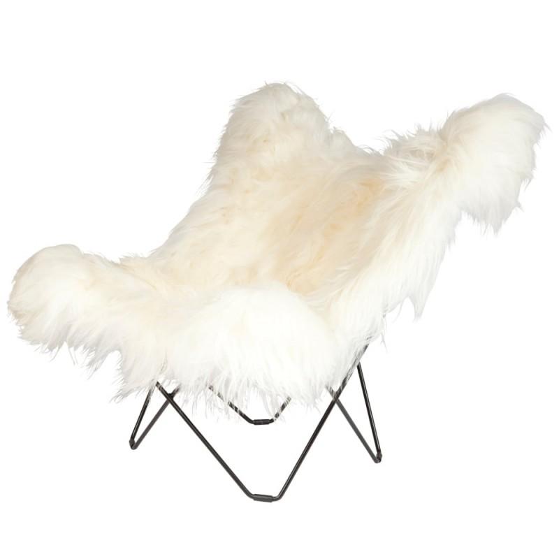 Fauteuil papillon en peau de mouton, poils longs ICELAND MARIPOSA pied métal noir (blanc)