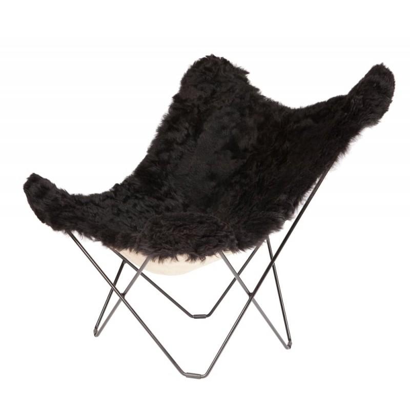 Fauteuil papillon en peau de mouton, poils courts ICELAND MARIPOSA pied métal noir (noir)