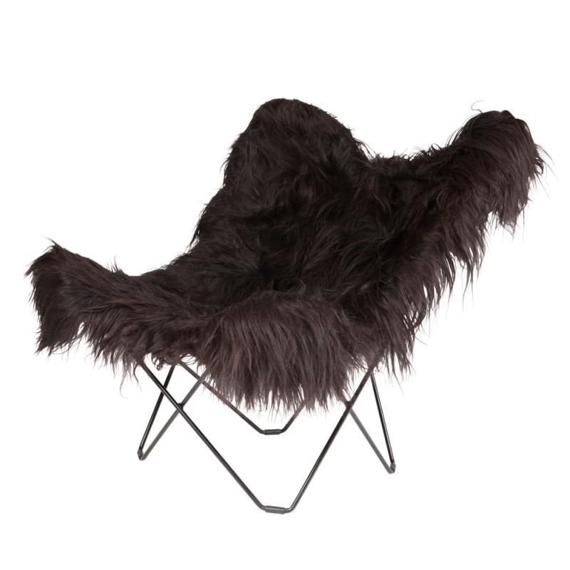 Fauteuil papillon en peau de mouton, poils longs ICELAND MARIPOSA pied métal noir (noir)
