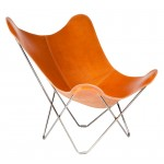 Italian leather butterfly chair PAMPA MARIPOSA chrome foot (gold brown)