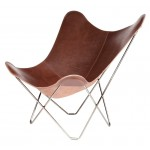 Italian leather butterfly chair PAMPA MARIPOSA chrome foot (chocolate brown)