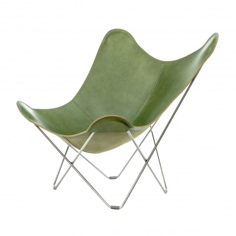 Silla de mariposa de cuero italiano PAMPA MARIPOSA pie cromado (verde) - image 54203