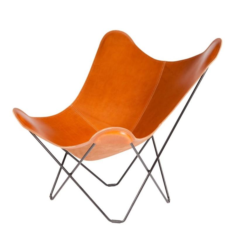 Schmetterling Sessel aus italienischem Leder PAMPA MARIPOSA Fuß Schwarz Metall (braun gold) - image 54206