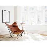 Italian leather butterfly chair PAMPA MARIPOSA black metal foot (oak brown)