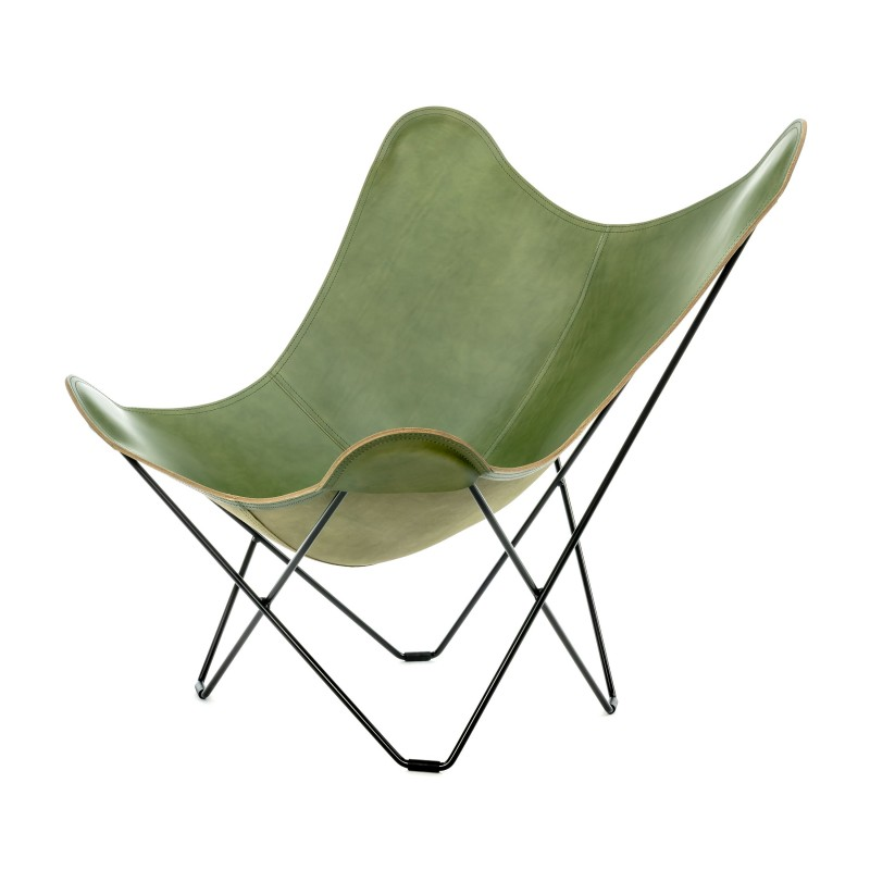 Silla de mariposa de cuero italiano PAMPA MARIPOSA pie de metal negro (verde)