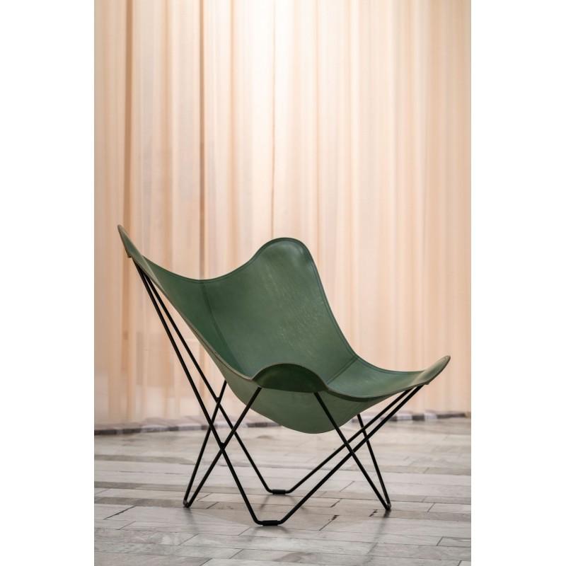 Schmetterling Sessel aus italienischem Leder PAMPA MARIPOSA Fuß Schwarz Metall (grün) - image 54268