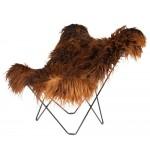 Fauteuil papillon en peau de mouton, poils longs ICELAND MARIPOSA pied métal noir (marron)