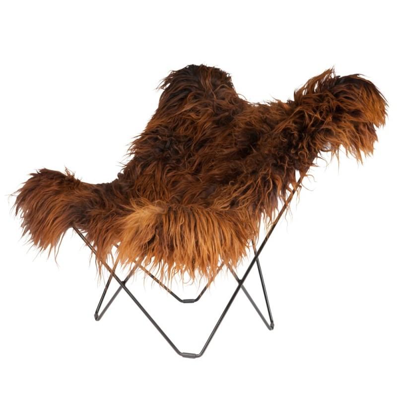 Fauteuil papillon en peau de mouton, poils longs ICELAND MARIPOSA pied métal noir (marron) - image 54286