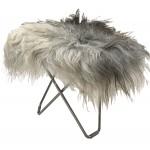 Fußfuß aus Schafsleer, lange Haare FLYING GOOSE ICELAND Chrom Fuß (weiß, grau)