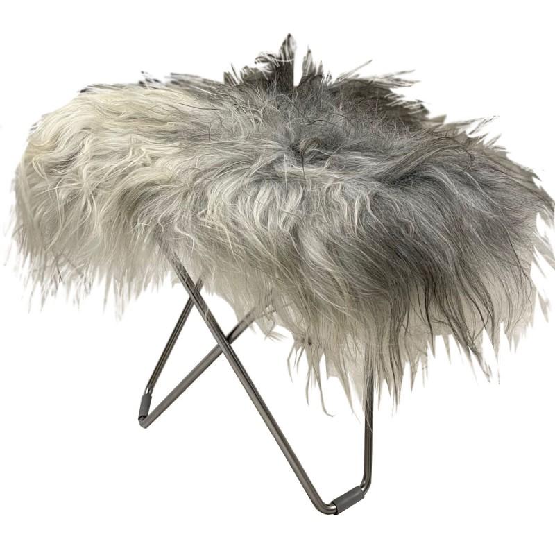 Repose pied en peau de mouton, poils longs FLYING GOOSE ICELAND pied chromé (blanc, gris)