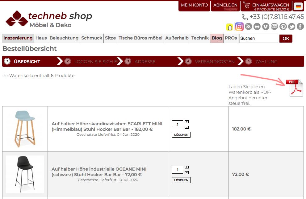 Laden Sie den PDF-Kostenvoranschlag für Einrichtungsgegenstände aus dem Warenkorb herunter
