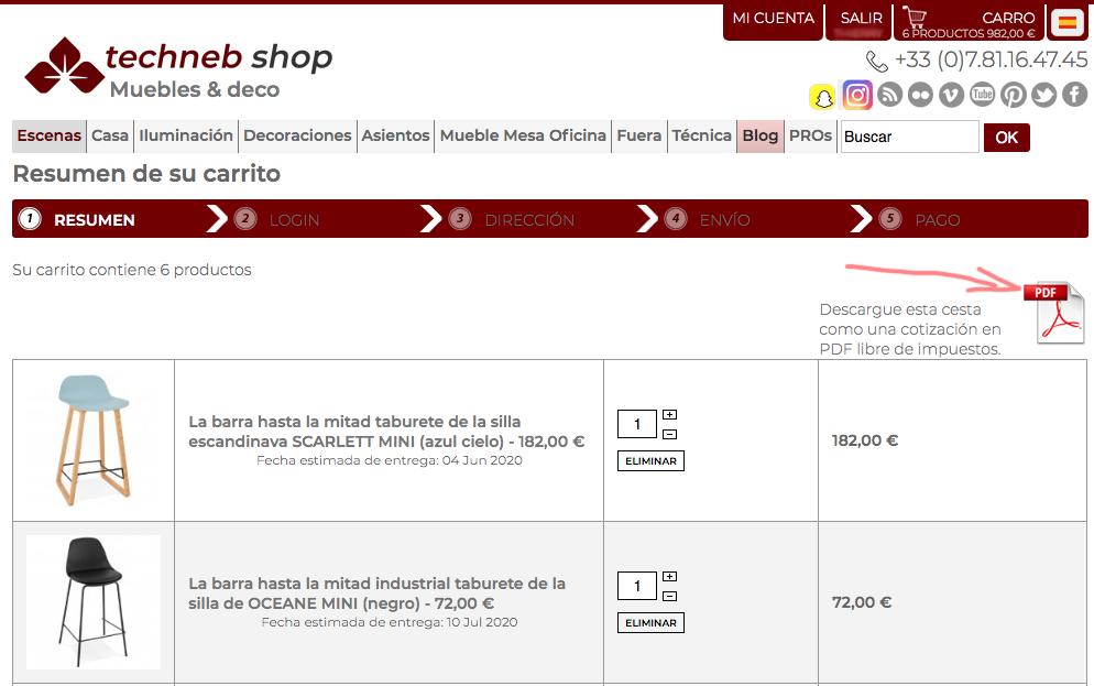 Descargue el presupuesto en PDF para los productos de decoración de la cesta